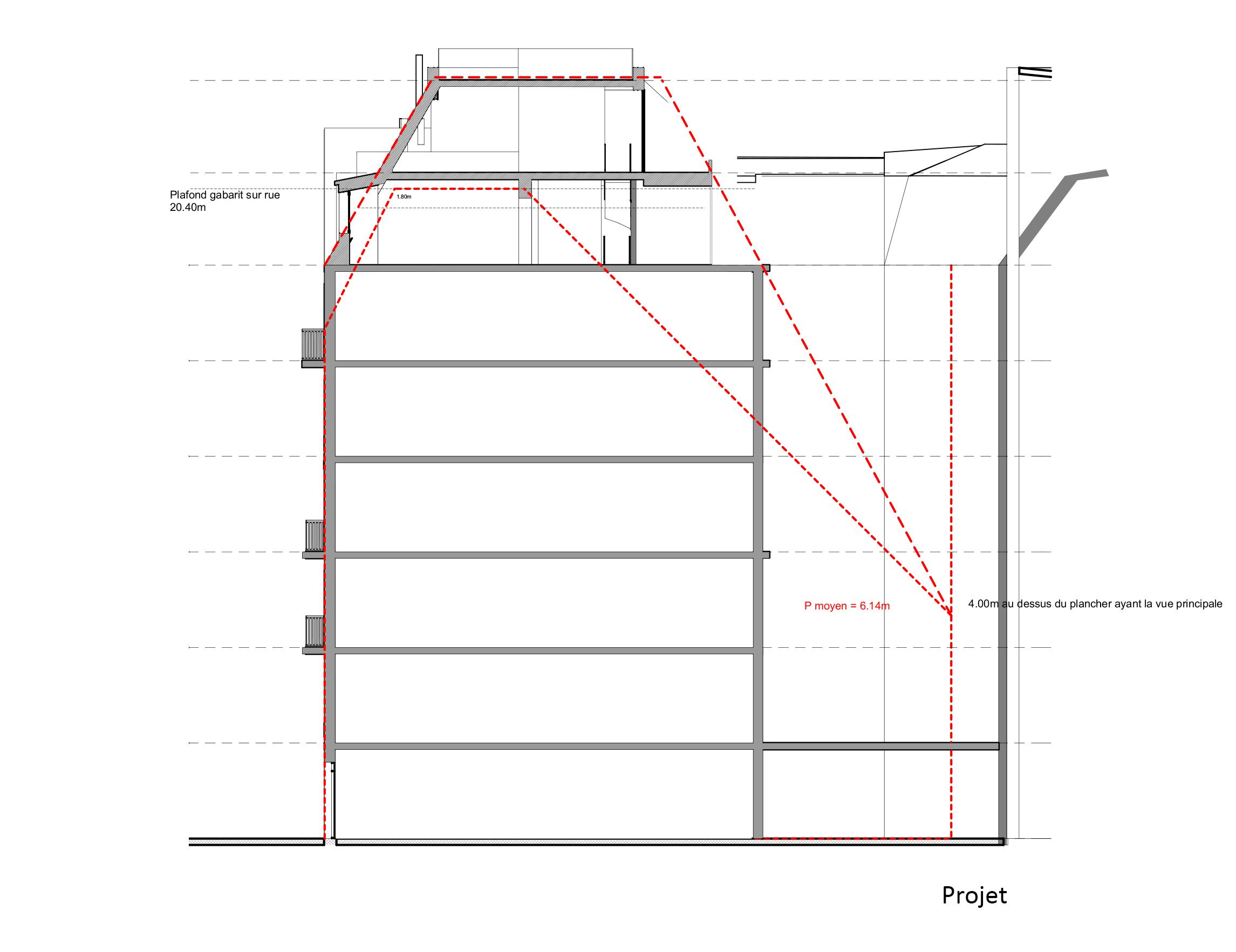 Sur l vation immeuble paris 75 alt r architecture for Edicule toiture terrasse