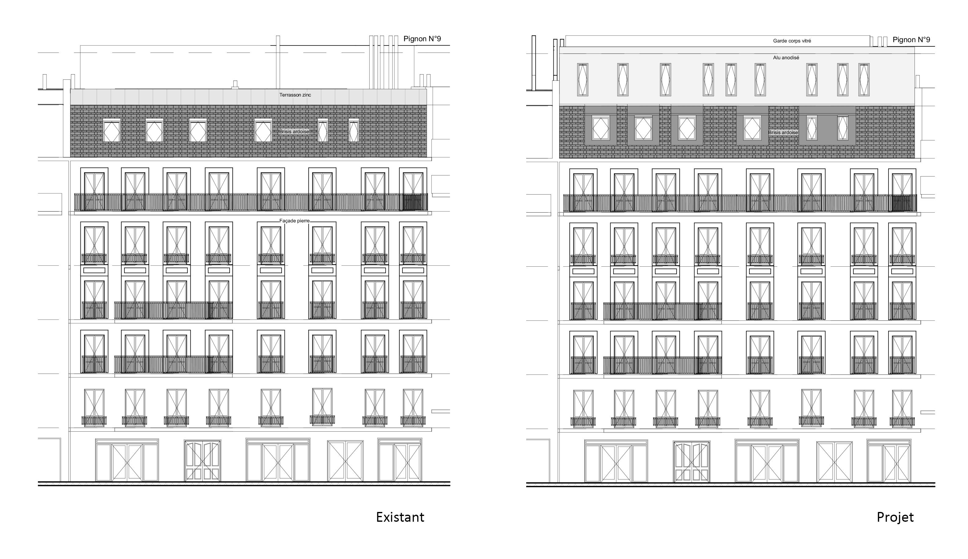 sur l vation immeuble paris 75 alt r architecture. Black Bedroom Furniture Sets. Home Design Ideas